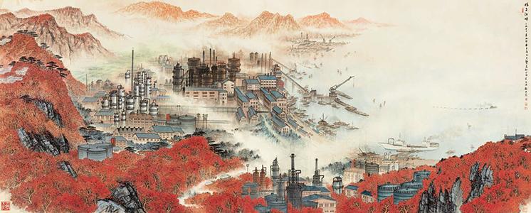 山水背景革命墙绘素材