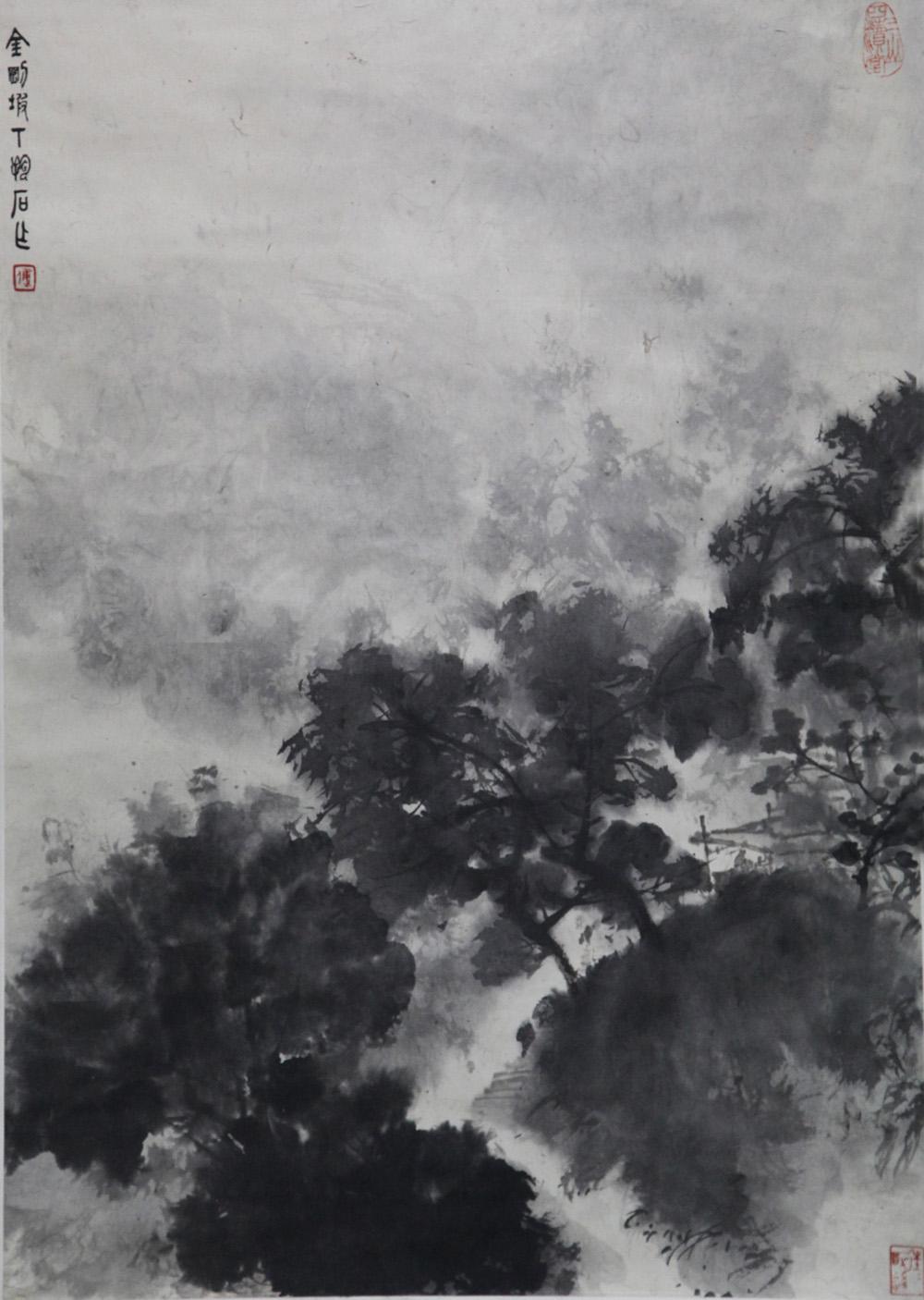 密树浓阴中的庭院书斋,高士林和靖梅妻鹤子志向高洁,不失为傅抱石难得