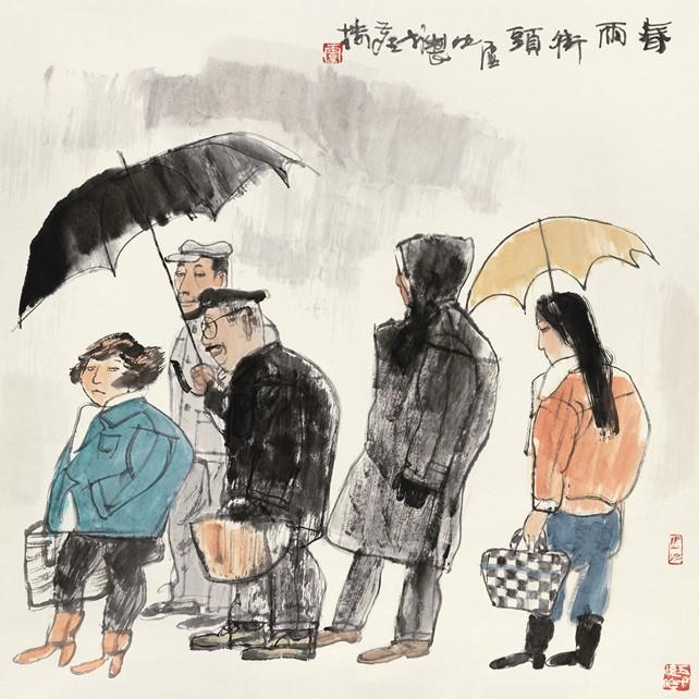 一年级美术画画春雨